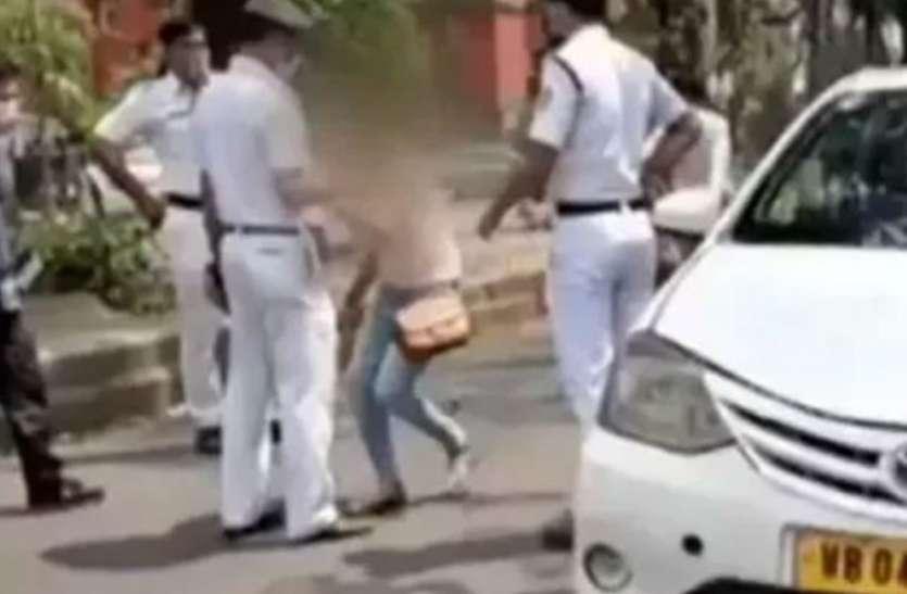 कोरोना: पुलिस कर रही थी चेकिंग, तो लड़की ने कर दी ओछी हरकत