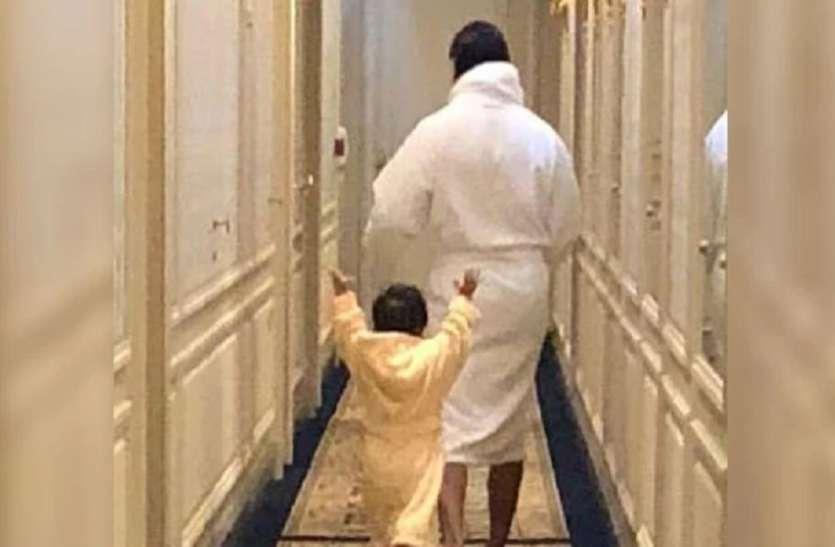 बाथरोब पहने मस्ती में घूमते दिखाई दिए तैमूर अली खान, पापा सैफ के नक्शेकदम पर चल रहे हैं