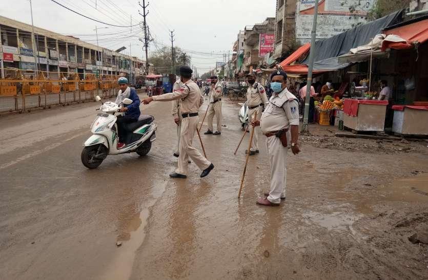 पुलिस सख्त, सब्जी मंडी में वाहनों का प्रवेश रोका