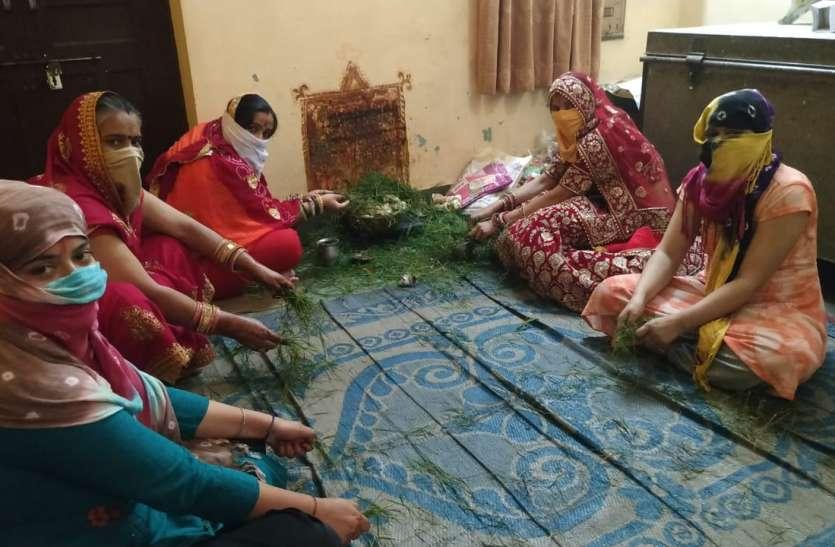 Lock Down: गणगौर पर्व रहा फीका, महिलाओं और युवतियों ने घरों में की पूजा