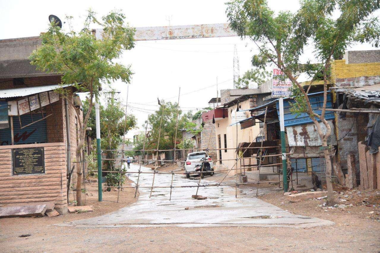 people put barricades in colonies of jodhpur during lockdown in india