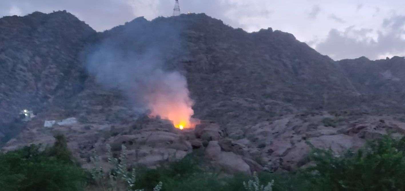 पहाड़ी पर झाडिय़ों में लगी आग, मुश्किल से पाया काबू