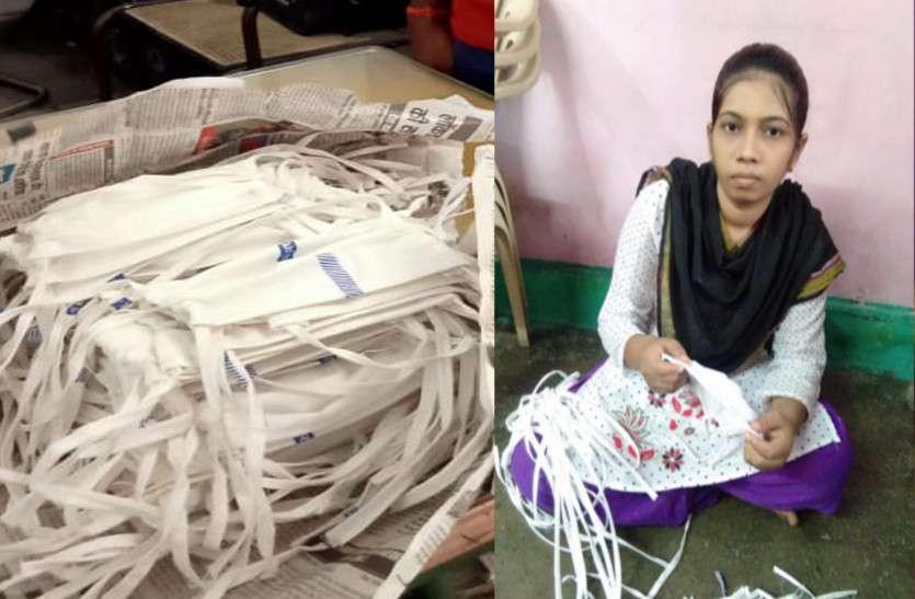 कोरोना को हराने मंजिल गुरुकुल के ये कर्मवीर बना रहे मास्क, रेलवे उपलब्ध करा रहा कपड़ा