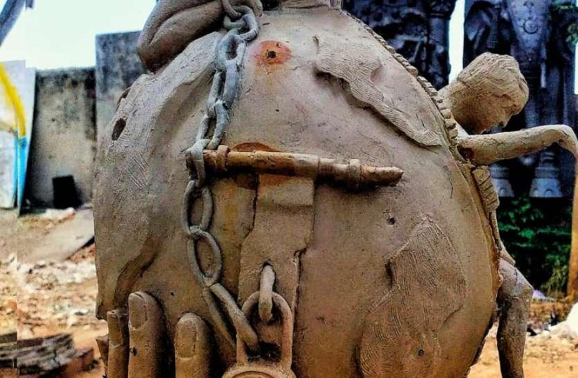 आमला के विशाल ने जयपुर में बनाई लॉक डाउन की अनोखी कलाकृति