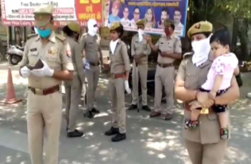 मुख्यमंत्री योगी आदित्यनाथ से मिली प्रेरणा, छोटी बच्ची को गोद में लेकर कोरोना से जंग में उतर पड़ी ये महिला पुलिसकर्मी