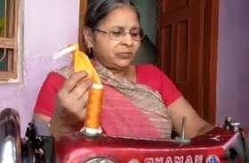 विधवा महिला के जज्बे को सलाम, खुद बना कर मुफ्त में गरीबों में बांट रही है मास्क