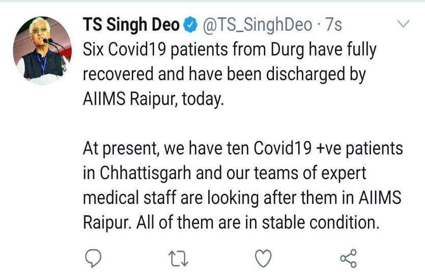 कोरोना संकट में छत्तीसगढ़ के लिए राहत भरी खबर, दुर्ग के छह कोविड मरीजों को संक्रमण मुक्त होने पर एम्स ने किया डिस्चार्ज