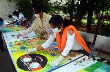 फोटोगैलरी :कोरोनावायरस को किया सलाम चित्रकारों ने