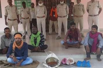 वन्यप्राणी चीतल के मांस सहित 5 गिरफ्तार