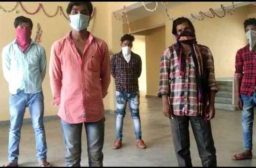 हैदराबाद से आए पांच श्रमिकों को 14 दिन क्वॉरंटीन के बाद भेजा गया घर