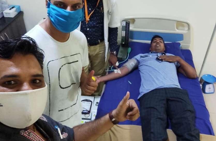 रक्तदान के बाद पीडि़तों को उपलब्ध कराया रक्त