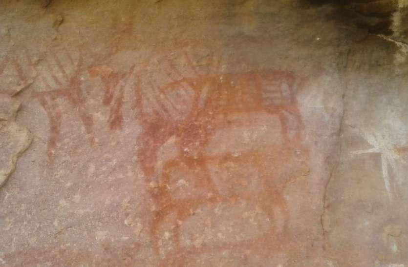 धनोरा की पहाड़ी पर मिले चार हजार साल पुराने शैलचित्र