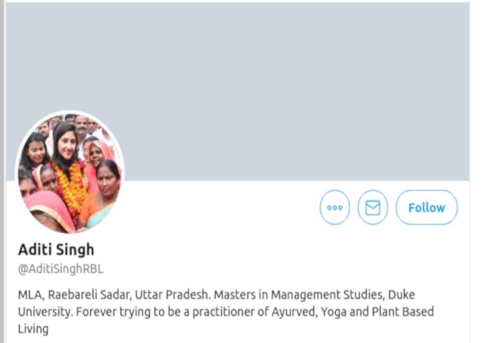 एक फिर सुर्खियों में हैं कांग्रेस की बागी विधायक अदिति सिंह