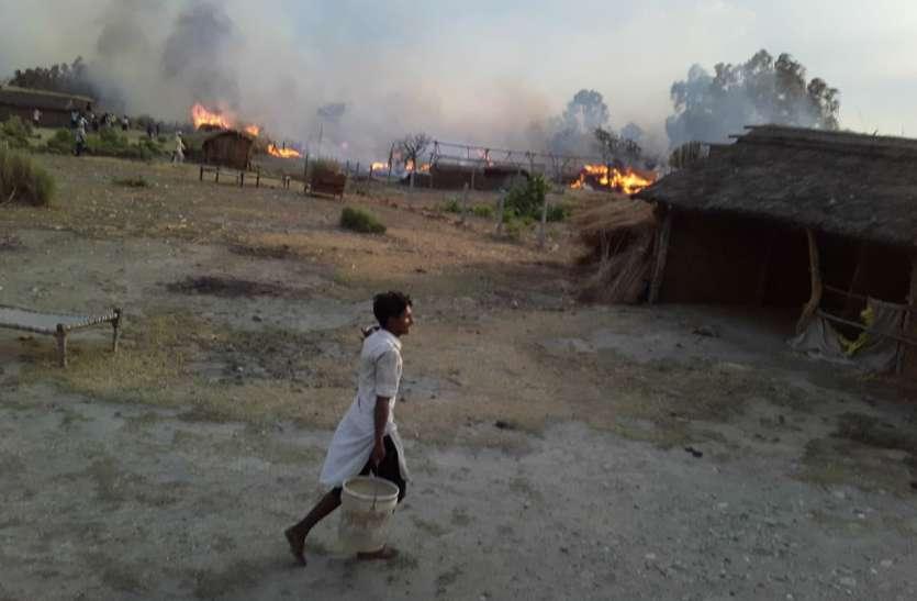 कोरोना महामारी के बीच सहारनपुर के घाड़ इलाके के एक गांव में लगी आग, 24 से अधिक घर जले