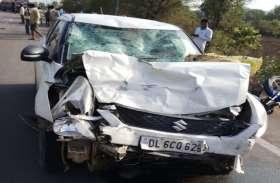 ललितपुर में तेज रफ्तार कार, बाइक से भिड़ी, बाइक सवार दो मजदूरों की मौत