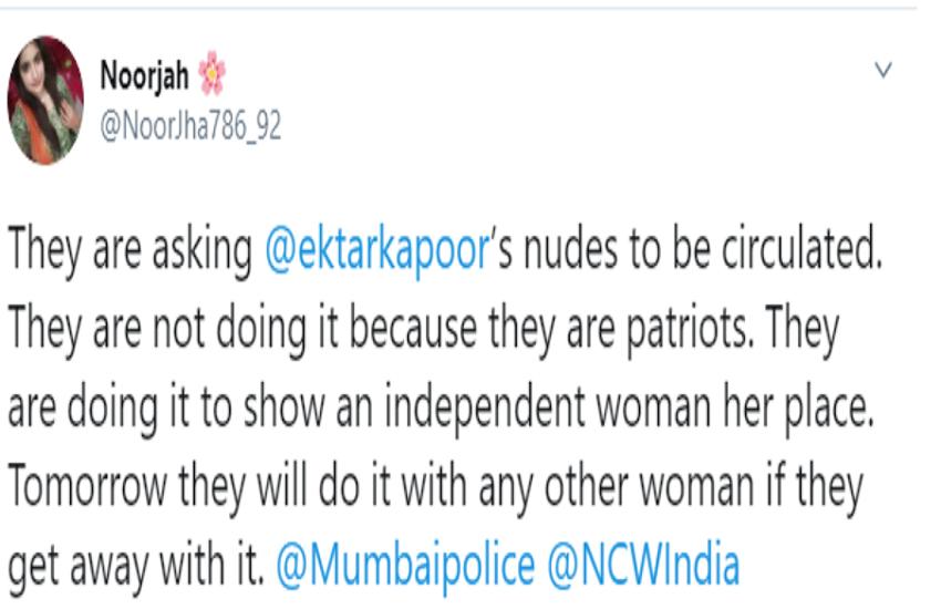 Woman tweet who supoort ekta kapoor