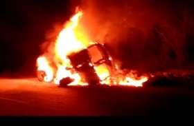 ट्रक में लगी आग, खलासी जिंदा दफन