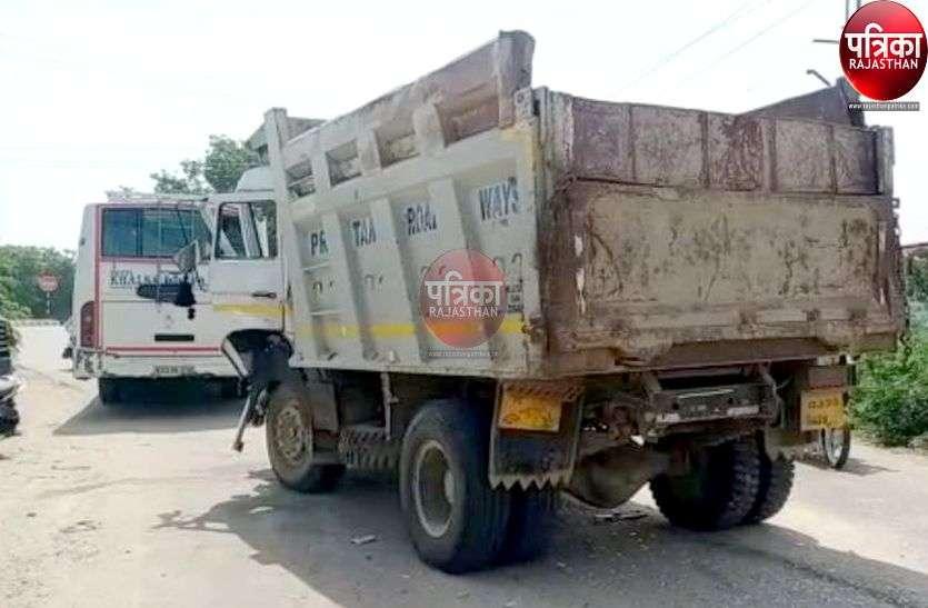 पाली : बजरी से भरे डम्पर ने निजी बस को पीछे से मारी टक्कर, यात्री बाल-बाल बचे