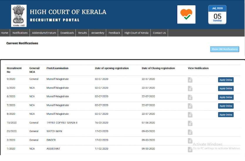 Kerala HC Recruitment 2020:  मुंसिफ मजिस्ट्रेट के पदों पर निकली भर्ती, जल्द करें अप्लाई