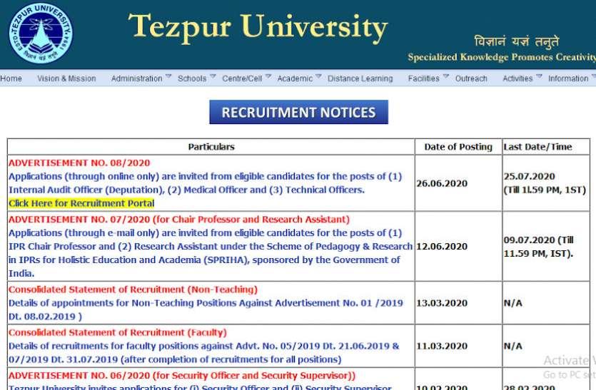 Tezpur University Recruitment 2020: तकनिकी अधिकारी के 96 पदों पर निकली वेकेंसी, जल्द करें अप्लाई