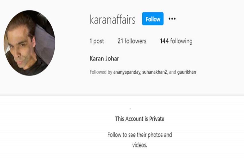 Karan Johar New Account