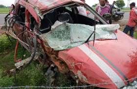 रांग साइड में रफ्तार से घुसा कंटेनर, कार को टक्कर मार घसीटता हुआ ले गया, चालक की मौत, दो अन्य घायल