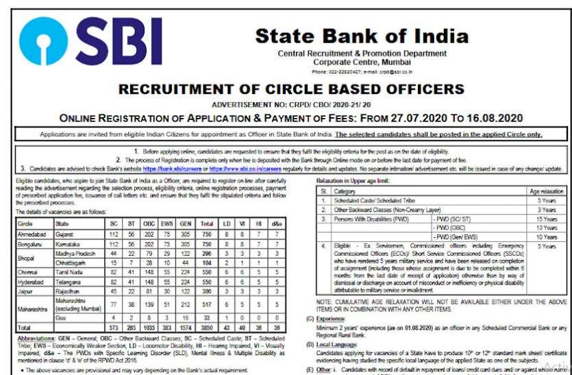 SBI Recruitment 2020: 3850 रिक्तियों के लिए आवेदन प्रक्रिया आज से शुरू, ऐसे करें अप्लाई