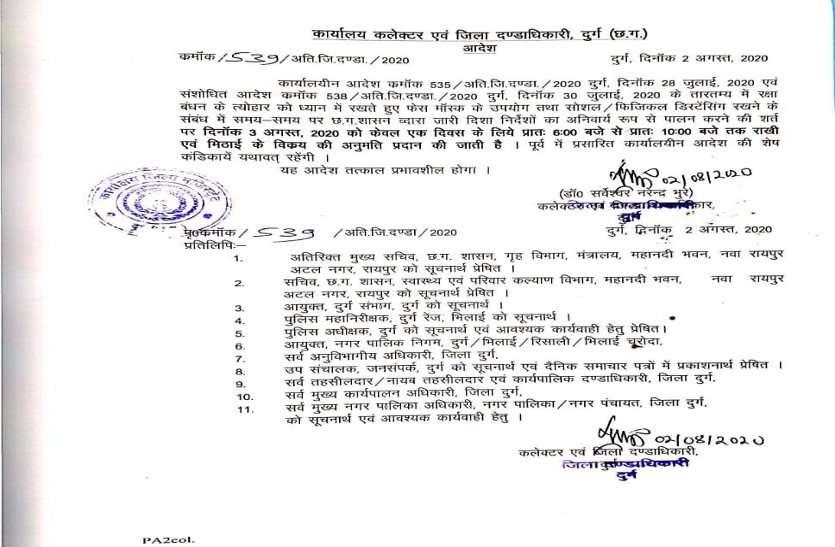 बड़ी खबर: राखी के दिन सुबह 6 से 10 बजे तक खुलेंगी दुकानें, दुर्ग कलेक्टर ने जारी किया आदेश