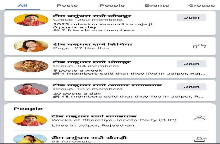 सोशल मीडिया पर सक्रिय हुए राजे समर्थक, जिलेवार बने टीम वसुंधरा राजे के पेज
