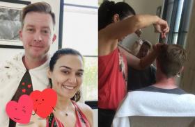 प्रीति जिंटा ने फिर काटे पति के बाल, कहा-हेयर ड्रेसिंग में अच्छा भविष्य