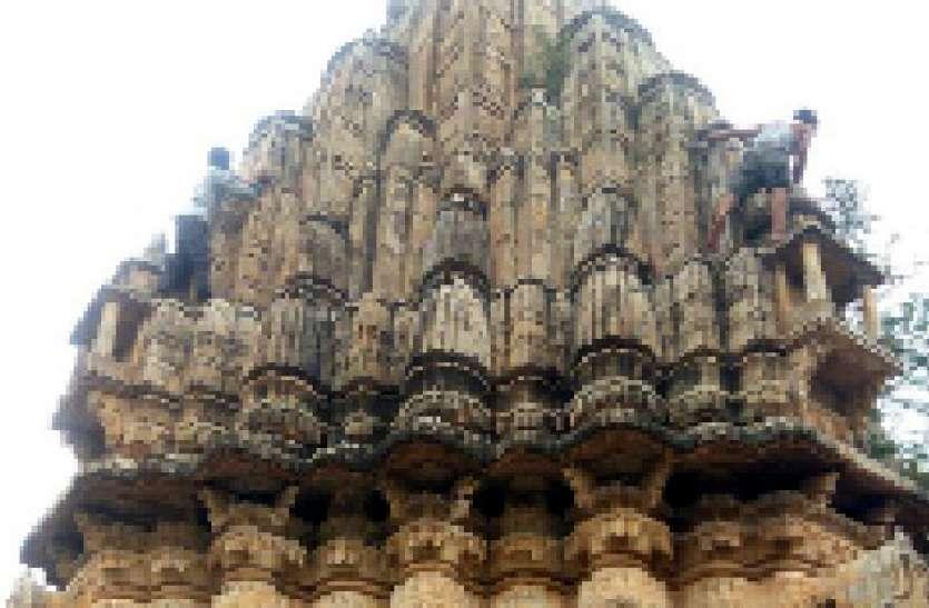 मंदिरों के गुंबदों व ऊपरी सतह पर श्रमदान कर की सफाई