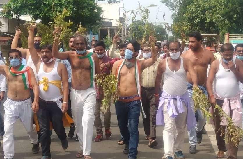 कांग्रेसियों ने अर्धनग्न होकर किया सरकार के खिलाफ प्रदर्शन
