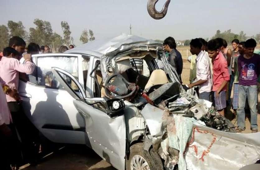 बिलासपुर-रायपुर नेशनल हाइवे में ट्रेलर और कार की आमने-सामने टक्कर, दो लोगों की मौत