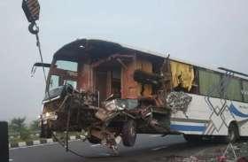 आगरा-लखनऊ एक्सप्रेस-वे पर अनियंत्रित स्लीपर बस, ट्रक में घुसी, दो की मौत