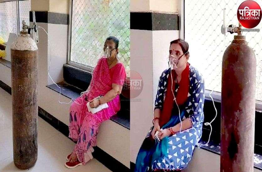 बांगड़ अस्पताल में मरीजों के लिए बेड की मारामारी, गैलेरी में चढ़ा रहे ऑक्सीजन