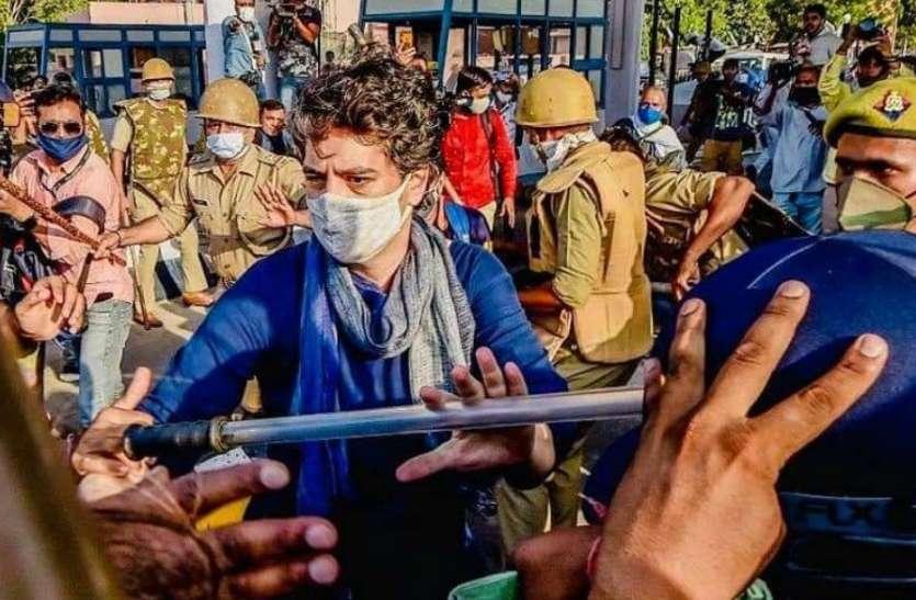 DND पर हंगामे के दाैरान अपने कार्यकर्ता काे बचाने के लिए गाड़ी से उतरकर प्रियंका ने पकड़ ली पुलिस की लाठी