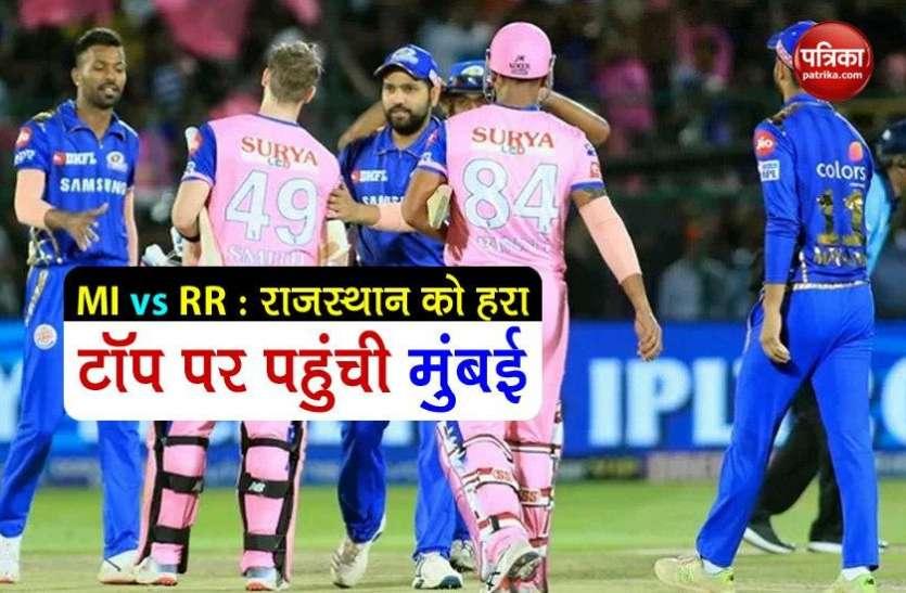 IPL-13 : नहीं चल सके राजस्थान के बल्लेबाज, मुंबई ने लगाई जीत की हैट्रिक