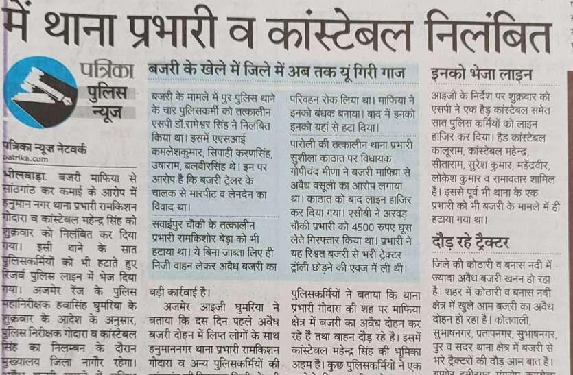 भीलवाड़ा में बजरी माफियाओं से सांठगांठ के आरोप में एसएचओ सस्पेंड