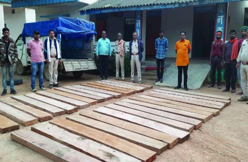 वन विभाग की ताबड़तोड़ कार्रवाई, लकड़ी तस्करी करते एक पिकअप समेत 48 नग चिरान-सिल्ली जब्त