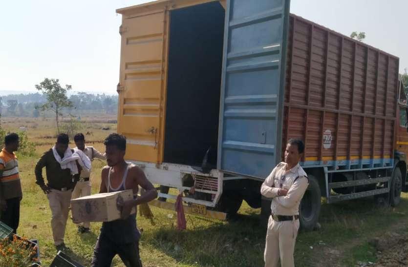 हरियाणा से सब्जियों के कैरेट बीच छिपाकर लाई जा रही थी 50 लाख की अवैध अंग्रेजी शराब, ट्रक छोड़ ड्राइवर फरार