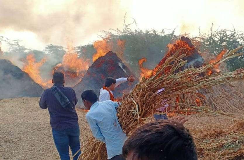 आग में 10 ट्रॉली चारा जलकर हुआ राख