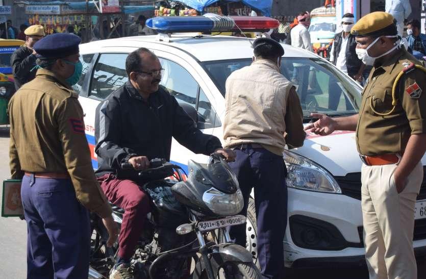 मास्क व सोश्यल डिस्टेसिंग पर चेती यातायात पुलिस, अभियान रहेगा जारी