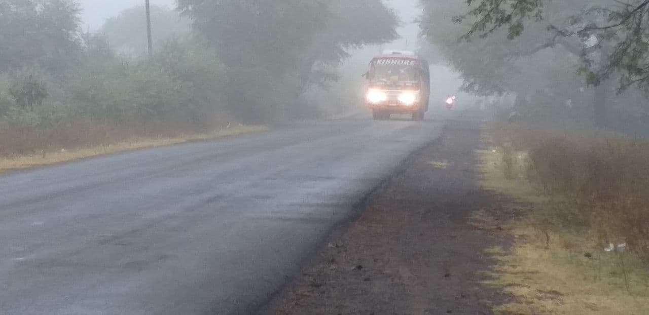 Weather news : घना कोहरा छाया... फसलें खिल उठीं, तीन डिग्री कम हुआ तापमान