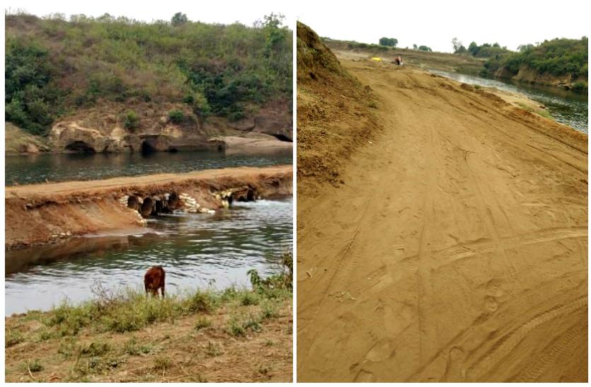 रेत माफिया की करतूत : नदी पर बीच धार बना डाली सड़क, नदी का स्वरूप बिगड़ा, आंख मूंदे रहे जिम्मेंदार