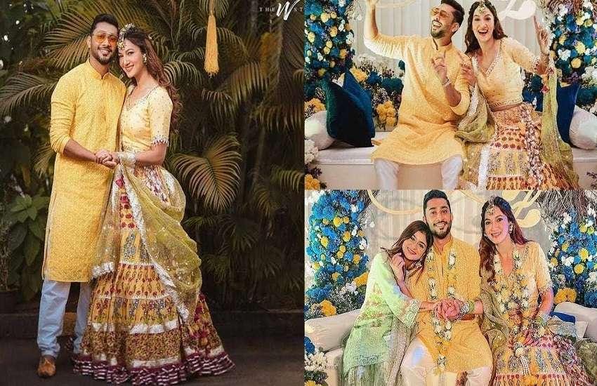 Gauhar Khan And Zaid Darbar Wedding Look Pictures - Gauhar Khan और जैद ने मेहंदी से लेकर वेडिंग रिसेप्शन तक अपने आउटफिट्स से लूटी महफिल, देखें तस्वीरें | Patrika News