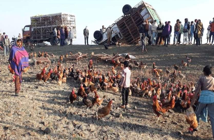 सड़क पर पलटा वाहन, गांव वालों में मची मुर्गियां लूटने की होड़