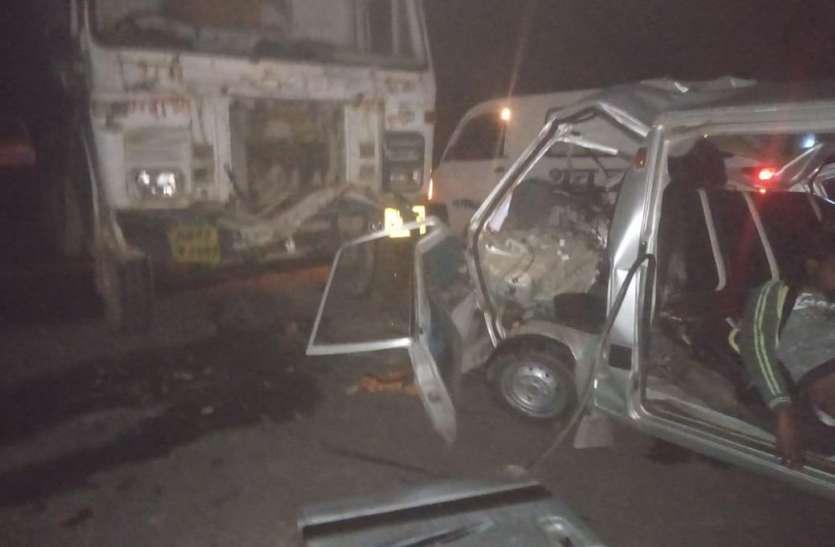 रीवा ग्वालियर नेशनल हाइवे पर ट्रक ने वैन को मारी टक्कर, 4 की मौत, 4 गंभीर घायल