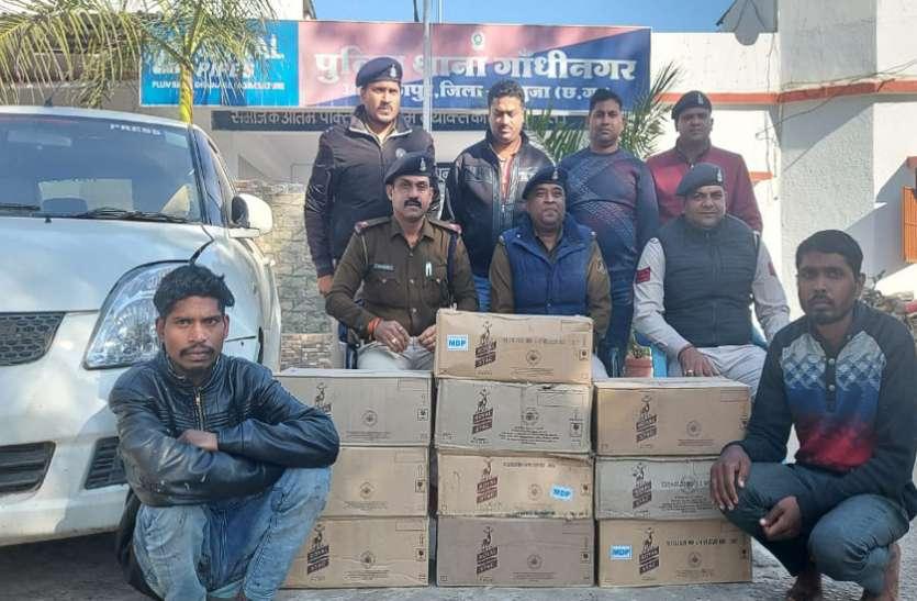 लक्जरी कार में मध्यप्रदेश से ला रहे थे 1.25 लाख की अंग्रेजी शराब, गिरफ्तार युवकों ने बताई किराए के रूम वाली ये बात