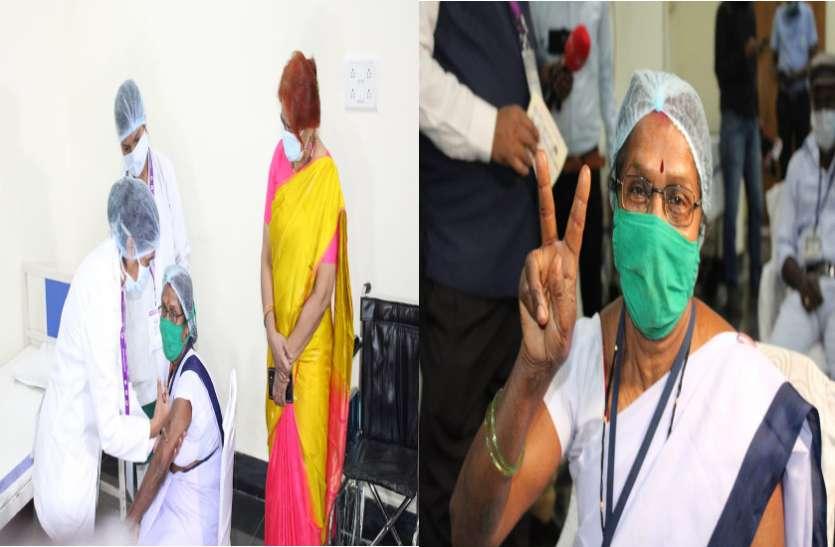 राजधानी में तुलसा को लगा सबसे पहले कोरोना का टीका, मंत्री सिंहदेव हुए कायल