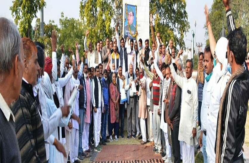 जयपुर शहीद स्मारक पर हुई किसान संगठनों की सभा